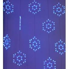 Светодиодный узорный занавес Снежинки, 2*2, синий, прозрачный провод, 20 снежинок