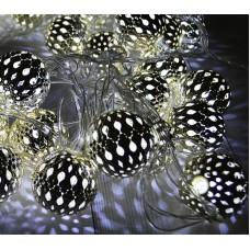 Гирлянда светодиодная «Восточная сказка» LED-PL-240V. С  серебр. шарами 10 м. Пр. провод, хол.белый.